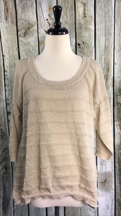 Maurices Plus SZ 1 Sweater Top Gold Ivory Solid Stripe Detail 3/4 Sleeve Hi-Low #Maurices #ScoopNeck