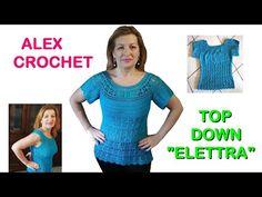 "TUTORIAL MAGLIA UNCINETTO ""ELETTRA"" top down facile tutte le taglie ALEX CROCHET - YouTube Crochet Tank Tops, Crochet Summer Tops, Free Crochet, Crochet Top, Top Down, Raglan, Crochet Patterns, Short Sleeve Dresses, T Shirts For Women"