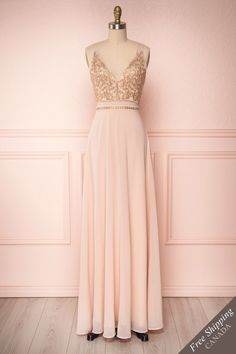 Blush pink A-line maxi prom dress with golden embroidery and crystals. Shop now! 1861 Boutique, Evening Dresses, Prom Dresses, Boutique Maxi Dresses, Vintage Dresses, Vintage Prom, Blush Pink, New Dress