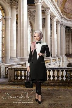 Muslima Wear.  Tunic frak black and white color  with removable bow tie.