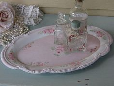 Shabby Chic Painted Vanity tray Perfume Tray Metal by Fannypippin