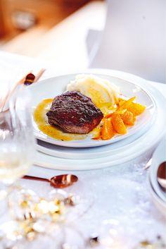 Recette de Pavé d'autruche, sauce mandarine et purée à la vanille