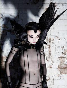 <3 'SUPER PAM: PAM HOGG | Fashion | HUNGER TV' -- Photo by Rankin.  -- Pam Hogg ~ Far From The Madding Crowd ~ Autumn/Winter 2011.  #fashion #black #bird #birds #crow #crows #headpiece #headdress #shadow #blackness