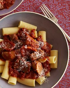 Slow Cooker Sunday Gravy Recipe from Food Network Favorites made with short ribs - would be great for a nice at home dinner