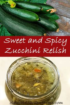 Sweet and Spicy Zucchini Relish recipe - A great way to use up all of those zucchinis! Zucchini relish that gives a sweet and spicy flavor that is perfect to use as a condiment or for ingredients in deviled eggs, tuna salad, and much more! Zucchini Sticks, Zucchini Salsa, Zucchini Relish Recipes, Zucchini Zoodles, Veggie Recipes, Zuchini Relish, Home Canning Recipes, Jam Recipes, Cooking Recipes