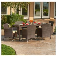 The-HOM Rica 7-Piece All-Weather Wicker Dining set Espresso Brown with Beige Cushions : Target