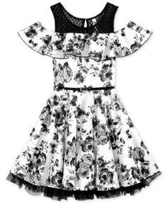 Beautees Ruffled Floral-Print Dress with Belt, Big Girls - Black 16 Pretty Dresses For Kids, Dresses Kids Girl, Little Girl Outfits, Kids Outfits Girls, Cute Girl Outfits, Girls Party Dress, Dresses For Teens, Cute Dresses, Beautiful Dresses