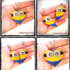 Minion heart charm chibi necklace in polymer clay from Despicable Me movie - BBF - friendship - best friends forever - Valentine's day