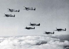 The Spitfire VBs of No 92 Squadron in May 1941, based at Biggin Hill, one of the front line stations in the south. The Mk V Spitfire now usually had the B armament - two 20mm cannons and four machine guns - after reliability problems with the cannons had been resolved. Had cannons been available during the previous summer Fighter Command's success rate would have been even better.