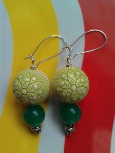 Vintage Lucite Green Flower Earrings ($22)