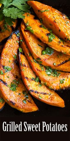 Grilled Sweet Potatoes Slices Of Sweet Potatoes Grilled And Slathered With A Cilantro-Lime Dressing. Most ideal Way To Eat Sweet Potatoes On A Hot Summer Day On Simply Grilled Sweet Potatoes, Sliced Potatoes, Sweet Potatoes On Grill, Barbecue Potatoes Recipe, Bbq Potatoes, Seasoned Potatoes, Sweet Potato Slices, Sweet Potato Recipes, Chicken Recipes