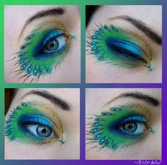 Peacock inspired dramatic eye makeup ideas that I know you will like ;) If you want to try a different eye makeup look, maybe you can skip your usual smoky eye makeup, and try some a little more impressive. Peacock Eye Makeup, Dramatic Eye Makeup, Smoky Eye Makeup, Dramatic Eyes, Eye Makeup Tips, Makeup Ideas, Smokey Eye, Pfau Make-up, Maquillage Smoky Eye