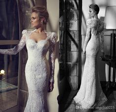 2016 Berta Vintage White Lace Wedding Dresses Mermaid Button Back Appliques Bridal Gowns Plus Size Long Sleeves Wedding Gowns Online with $256.55/Piece on Angelia0223's Store | DHgate.com