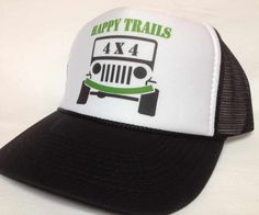 95bb8224 Jeep Happy Trails Trucker Hat Mesh Hat Snap Back Hat Black Jeep Trails, Snapback  Hats
