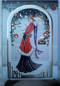 Hunkydory Festive Decadence Christmas card with decoupaged art deco lady