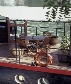 Houseboat barge seine terrace