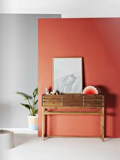 Feature Wall Ideas: Burnt Orange and Grey Feature Wall