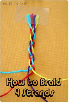 I had someone a while back that left a comment on this bracelet I made Her mind was baffled on how to braid with 4 strands. No worries, . Braided Friendship Bracelets, Friendship Bracelets Tutorial, Friendship Bracelet Patterns, Bracelet Tutorial, Ribbon Braids, Yarn Braids, Diy Braids, How To Make Braids, Braids With Weave