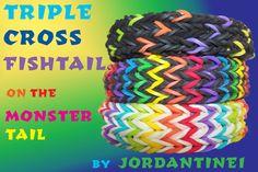 Triple Cross Fishtail - Monster Tail - Rainbow Loom Monster Tail Bracelets, Monster Tail Loom, Wonder Loom, Crazy Loom, Fishtail Bracelet, Loom Love, Rainbow Loom Creations, Rubber Band Bracelet, Rainbow Loom Bracelets