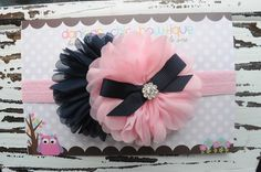Navy/Light Pink Double Blossom Flower Headband. $11.25 plus shipping. Made by Danica's Chic Bowtique.