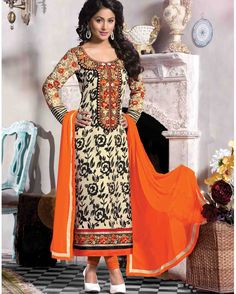 Cream Embroidered Georgette Salwar Kameez (Semi   Stitched)       Fabric:   Georgette       Work:   Embroidered       Type:   Salwar Kameez (Semi   Stitched)       Color:   Cream                 Fabric Top   Georgette       Fabric Bottom