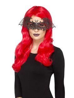 Lepakko silmämaski. Maski valmistettu filigraanitekniikalla ja päällystetty mustalla ja kultaisella hileellä sekä punaisilla koristetimanteilla.