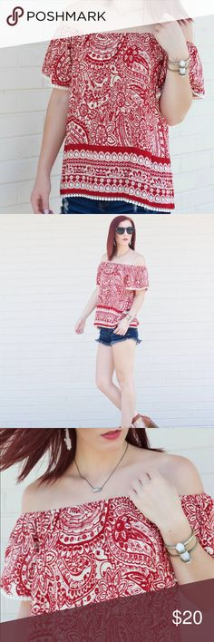 She & Sky Paisley Off Shoulder Top Bright red and cream paisley off-shoulder top with mini pom-pom hem around bottom and sleeves. Elastic off-shoulder to fit any size. Runs large. Worn only once for photos. She and Sky Tops Blouses