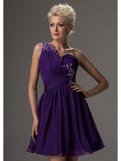 >> Click to Buy << 2016 Real Purple Chiffon Short One Shoulder Juniors Homecoming Dresses  Straps Beaded Appliques A-line Teens Homecoming Gowns #Affiliate