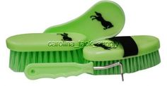Showman-LIME-GREEN-4-piece-grooming-set-with-jumping-horse-decal-New-Horse-Tack