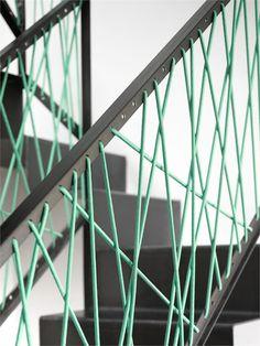 30 Stair Handrail Ideas For Interiors Stairs balustrade-designrulz Stair Handrail, Staircase Railings, Deck Railings, Stairways, Handrail Ideas, Rope Railing, Railing Design, Staircase Design, Staircase Ideas