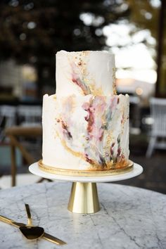 Wedding Cakes by Lady in the Wild West Jewel toned cake, painted buttercream cake, two tiered weddin Whimsical Wedding Cakes, Textured Wedding Cakes, Wedding Cake Designs, Pretty Cakes, Beautiful Cakes, Watercolor Wedding Cake, Painted Wedding Cake, Champagne Cake, Painted Cakes