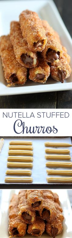 "Nutella Stuffed Churros - One word to describe these - ""AMAZING!""These are all my FAVORITE things in one dessert!"