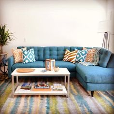 Hot For Spring: our Logan sectional sofa looks great in blue!