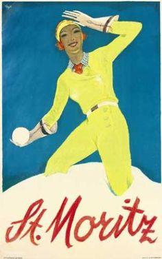 vintage ski poster - St. Moritz
