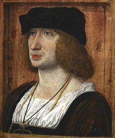 Portrait of Pierre Sala (f°17r) -- «Petit Livre d'Amour», by Pierre Sala, Paris and Lyon (France), 1st quarter of the 16th century [BL Stowe 955].