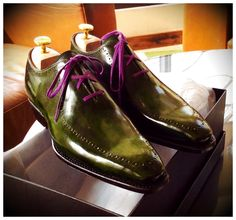 Courtier MTO green patina shoes on our blind brogue whole cut.   101 last.