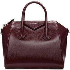 Givenchy Burgundy Small Antigona Bag (£2,010) ❤ liked on Polyvore featuring bags, handbags, burgundy, brown purse, burgundy purse, givenchy, zip purse and structured handbags