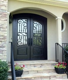 Front Door With Wood And Rod Iron Curve Design Entry Doors