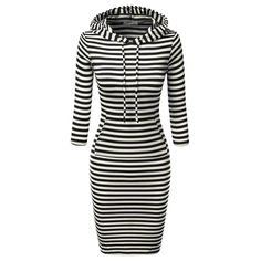 Striped hooded casual dress