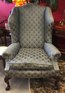 """George Smith wing chair imported from England. Ultra high-end all hand crafted with carved ball-and-claw feet, and silk upholstery. Made in UK. 37"""" x 35"""" x 47"""" tall."""