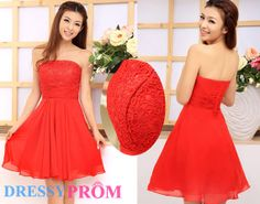 Short Strapless Red Bridesmaid /Homecoming Dress On by DressyProm, $96.99