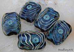 Blue Ice Set, 5 blue silver with Murrini handmade glass beads by Beadfairy
