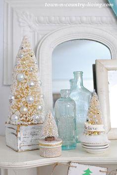 Bottle Brush Christmas Trees and Vintage Aqua Bottles