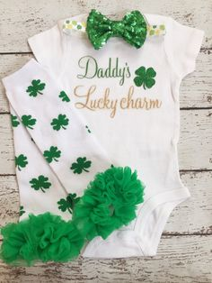 ad893b1f First St.Patrick's Day/Irish /Daddy's Lucky St Patrick's Day Outfit, Outfit
