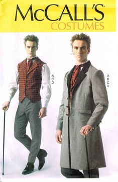 Men Steampunk Victorian Waistcoat Dickens Frock Coat Vest Pants Sewing Pattern McCalls 7003 Size S M L Xl Xxl 34 36 38 40 42 44 46 48 50 52