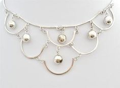 Sterling Silver Festoon Bib Necklace Dangling Bead Ball Mexico Vintage AMF 925
