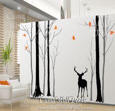 Tree wall decal nursery birds wall sticke animal wall decals children office wall mural vinyl - deer in Forest   Z170 cuma