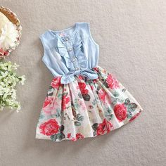 2016 Summer Girl Dress Floral Print Girl Denim Dresses Sleeveless Kids Dresses for Girls Fashion Toddler Girl Dresses Robe Fille #>=#>=#>=#>=#> Click on the pin to check out discount price, color, size, shipping, etc. Save and like it!