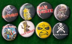 Heavy metal buttons | ... IRON MAIDEN Set of 8 Pins Buttons Badges eddie 80s heavy metal - Coats