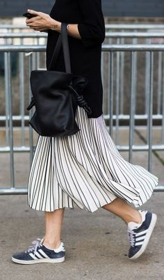fall street style. stripe pleated skirt. adidas suede sneakers.